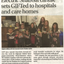 Electric Shabbat Candle sets gifted to Hospitals and Care Homes