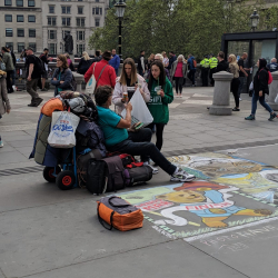 Handing out food to the homeless in London